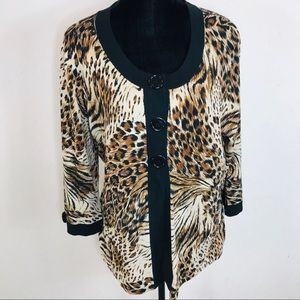 Cable & Gauge Tiger Print Silk Blend Blouse 1X